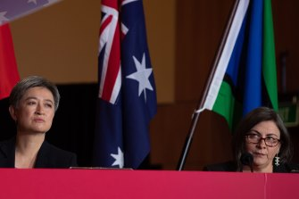 Penny Wong (left), at the ALP national conference on Tuesday, said an Albanese Labor government would build a fairer society, a stronger nation and a better world.