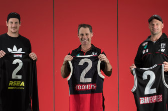 Jake Carlisle, Aaron Hamill and Tony Brown with their No. 2 jumpers.