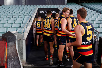 Rory Sloane of the Crows walks from the field during the round 1 AFL match between the Adelaide Crows and the Sydney Swans at Adelaide Oval on March 21, 2020.