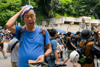 Media tycoon Jimmy Lai at a protest march last year. Lai is one of the few prominent Hong Kong business people openly supporting the protesters.