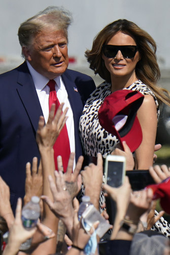 President Donald Trump and first lady Melania Trump arrive for a campaign rally in Tampa, Florida.