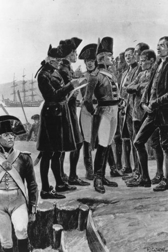 Arthur Phillip, who was a Londoner, inspects convicts from a variety of places in the British Isles, at Sydney Cove in 1788. The mix of dialects would be striking to the modern ear.