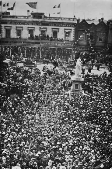 Celebrations in front of City Hall, Ballarat.