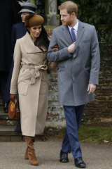 Prince Harry and Meghan Markle attend the traditional Christmas Day church service last year.