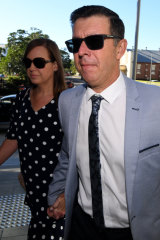 Former Ipswich mayor Andrew Antoniolli and his wife Karina arrive at the Magistrates Court in Ipswich.