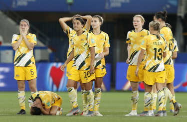 The disappointed Matildas react after losing the penalty shootout to Norway.