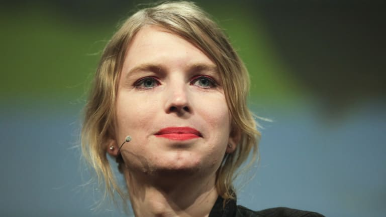 Chelsea Manning on stage in Berlin in May.