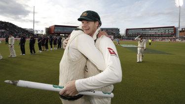 Steve Smith celebrates after the victory.