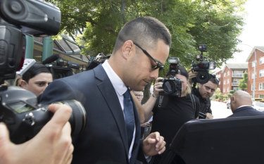 Embattled: Jarryd Hayne leaves Burwood Local Court after his first appearance (committal) on an aggravated sexual assault charge.