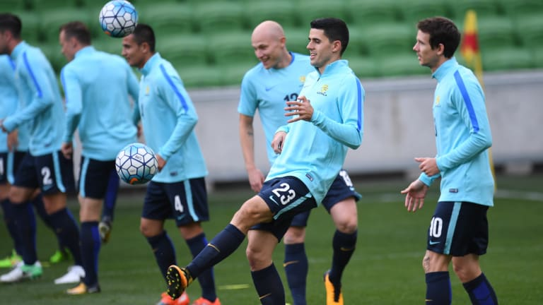 Tom Rogic training at AAMI Park, Melbourne.