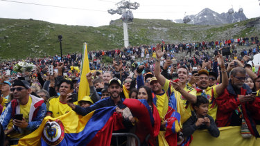 Supporters of Colombia celebrate a first-ever Colombian Tour de France win-to-be.