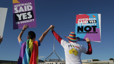Supporters of same-sex marriage at a rally on the front lawn of Parliament House.