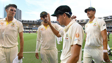 Party of four: The Australian bowling attack dominated against Sri Lanka in Brisbane.