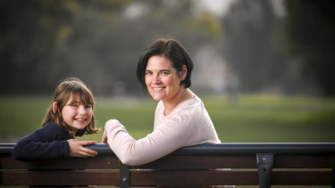 Nine-year-old Audrey, who moved schools last year, with her mother, Sophie Lyall.