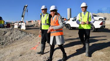 Premier Gladys Berejiklian inspects WestConnex in St Peters.