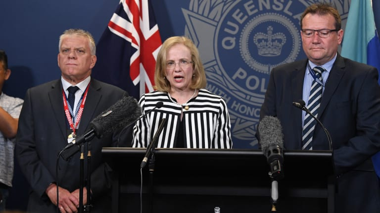 Detective Superintendent Jon Wacker, Queensland chief health officer Jeanette Young and Acting Chief Superintendent of state crime command Terry Lawrence at a press conference at Police headquarters in Brisbane.