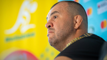 Surprised: Michael Cheika isn't concerned by the Wallabies' attack days out from the Rugby World Cup.