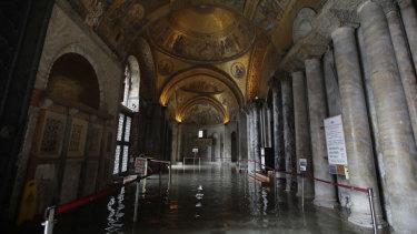The flooded atrium of St Mark's Basilica.