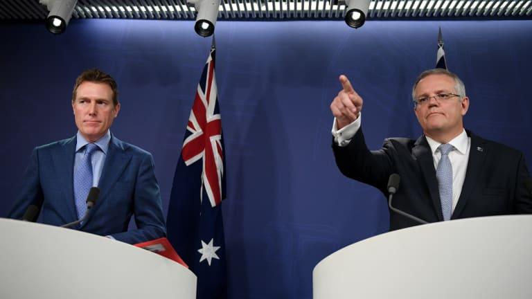 Attorney-General Christian Porter and Prime Minister Scott Morrison announce anti-discrimination laws on Thursday.