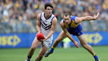 Andrew Brayshaw in action for the Dockers during the round 20 Western Derby.