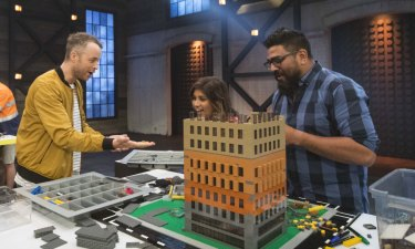 Block party: On the set of Lego Masters with Hamish Blake.