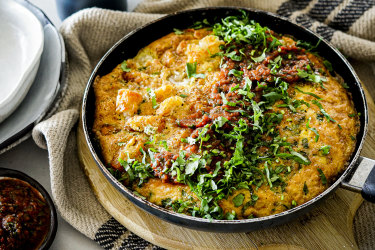 Potato gem and three-cheese frittata with spicy tomato salsa.