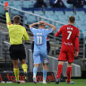 Craig Noone is red carded off during Melbourne City's 2-2 draw with Adelaide United  on Tuesday night.