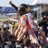 Marquez celebrates fifth MotoGP title ... by dislocating his shoulder