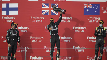 Race winner Hamilton joins third-placed Ricciardo for podium shoey
