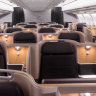 Front on view of Business Class on board the Qantas Airbus A330 Qantas A330 business suites