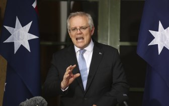 Scott Morrison at The Lodge on Friday.