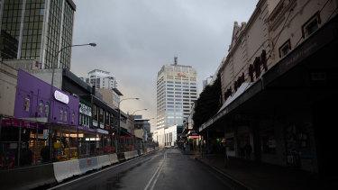 Empty streets in Bondi Junction during the Sydney lockdown.