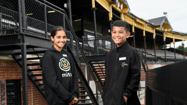 Melbourne Indigenous Transition School captains Lailani Bransden and Malakai Wright.