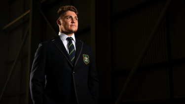 James O'Connor at the announcement of the Wallabies World Cup squad, an event he missed before the 2011 tournament.