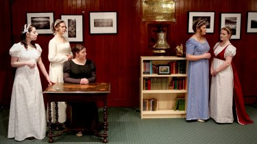 Performers, from left, Emily Mae Jones, Liliana Braumberger, Madalyn McCandless, Avril Goode and Jacinta Scadden keep the Austen flame burning.