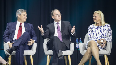 IBM CEO Ginni Rometty (far right) said 70 billion attacks a day hit the company and its clients.
