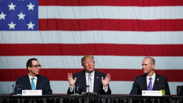 Former President Donald Trump and former Boeing CEO Dennis Muilenburg (right) three years ago; Boeing hoped new US tariffs would reverse some of the gains that Airbus had made in the global aviation market.