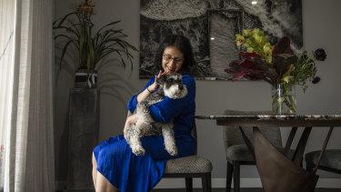 Jo Cooper and her pet schnauzer Angus.