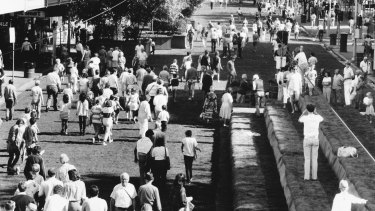 Professor Yencken turned Swanston Street into a green pedestrian mall as part of Victoria's 150th celebrations.