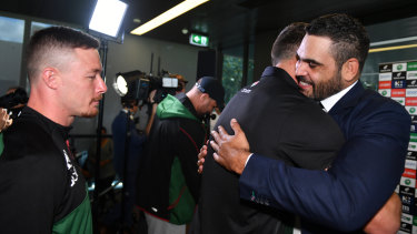 Greg Inglis hugs Sam Burgess after announcing his retirement last year.