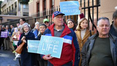 Anti-abortion protesters at a rally outside the NSW Parliament house in Sydney.