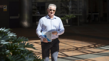 Hugh Marks on his way out of a meeting with Peter V'landys at Racing NSW offices in Sydney's CBD.