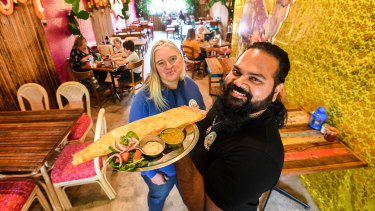 Babajis Kitchen owners Billy Chrombie and Max Kamil Hassan are donating the proceeds of every masala dosa to the Mallacoota golf course.