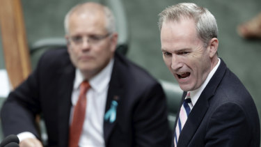 Immigration Minister David Coleman, right, and Scott Morrison both recused themselves from expenditure review committee and cabinet discussions on the issue.