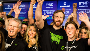 Ethan Brown, founder and chief executive of Beyond Meat, centre, at the company's IPO in May.