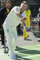 Finding touch: David Warner.