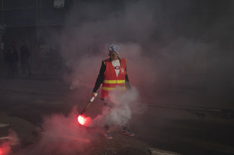A protester in Marseille in the south of France on Wednesday.