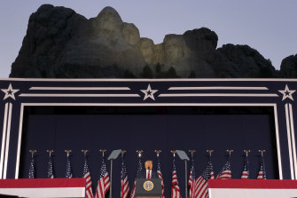 In the shadow of greats: US President Donald Trump speaks at Mount Rushmore National Monument on July 3.