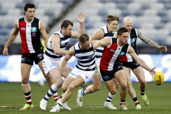 St Kilda's Luke Dunstan (at front of the pack) is a high-profile delisted player this year.