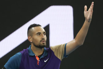 Nick Kyrgios enjoys an opening-round win at the Australian Open.